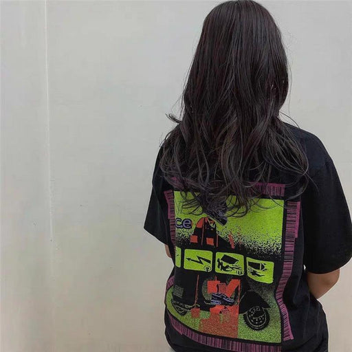 Grunge Cavempt psychedelic motorcycle steam wave short sleeves