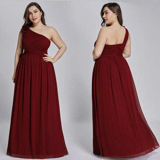 Bridesmaid dress skirt one-shoulder sister group tube top evening dress