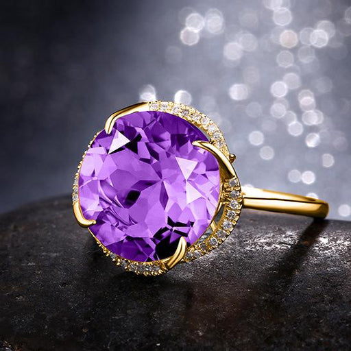 High-end 18K gold plated amethyst women's birthday ring