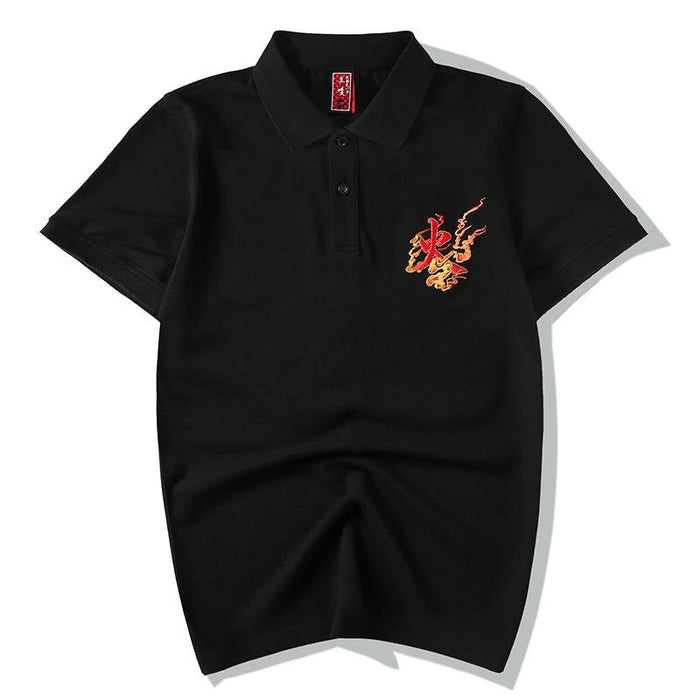 Japanese  Anime  Gender Man  Wind Phoenix embroidered lapel T-shirt