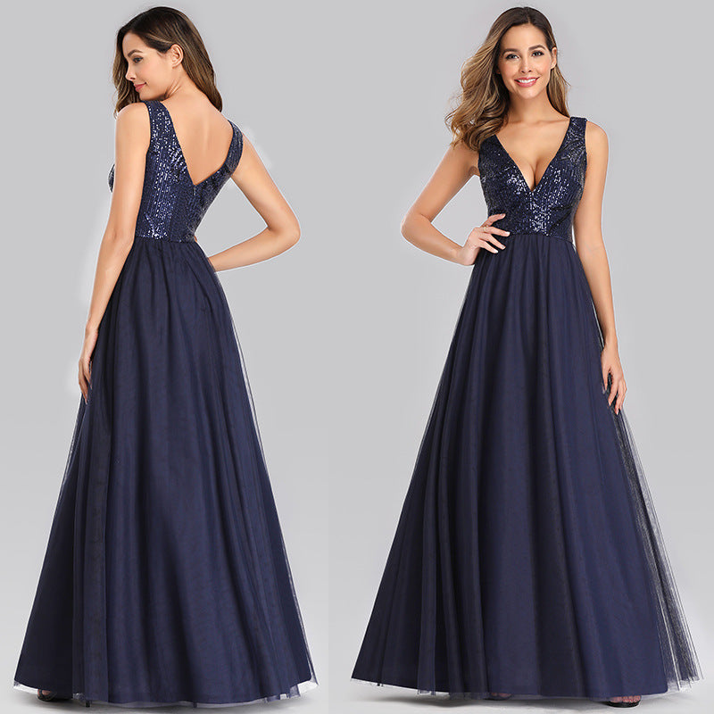 Evening dress V-neck navy blue Sequin sleeveless dress