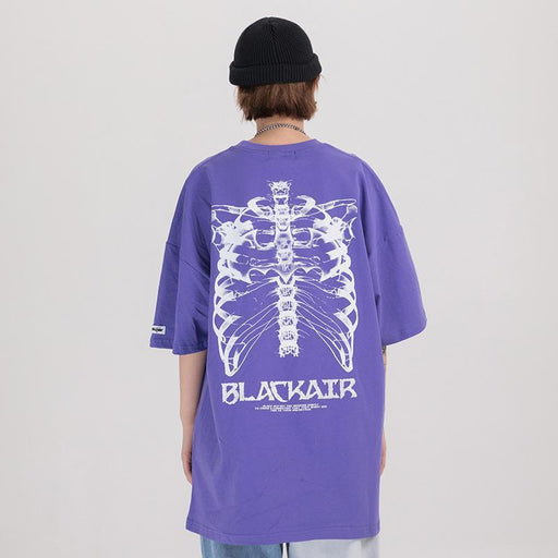 Grunge Hip-hop skeleton print T-shirts