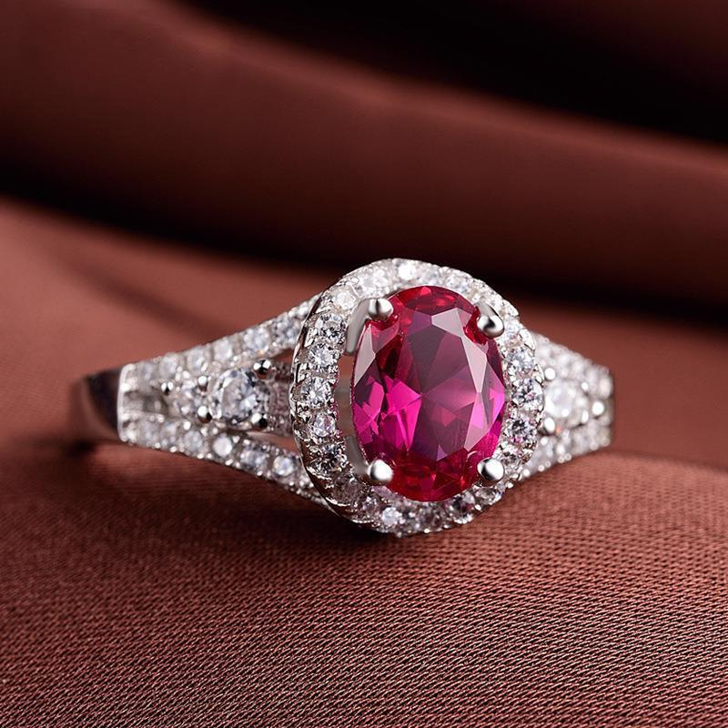 Korean oval Inlay zircon ruby women's birthday ring