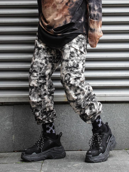 Japanese trendy men's tie-dye smoke camouflage tooling trousers