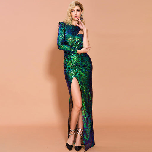Party sexy Shiny split long irregular skirt evening dress