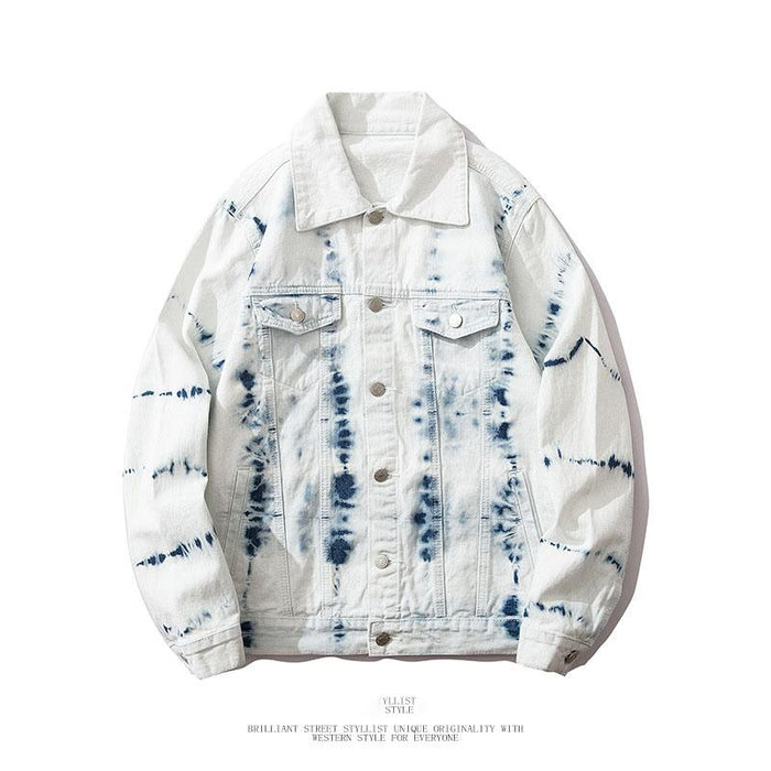 Japanese personality striped tie-dye lapel denim jacket