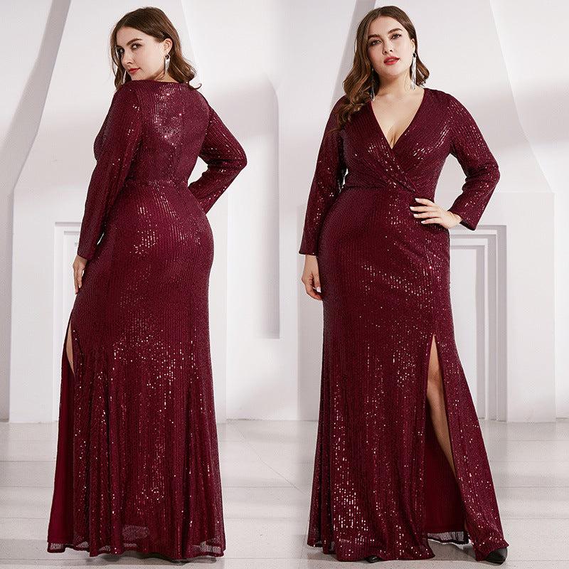 Shiny V-neck long sleeve split evening dress