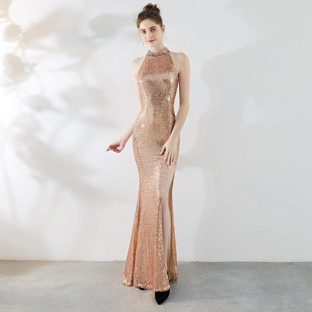 Party High split long halter sequined fishtail slim evening dress