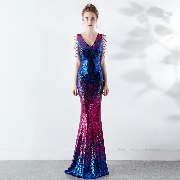 Night Club  Deep V Sexy Fishtail Shiny Blue Red Dress