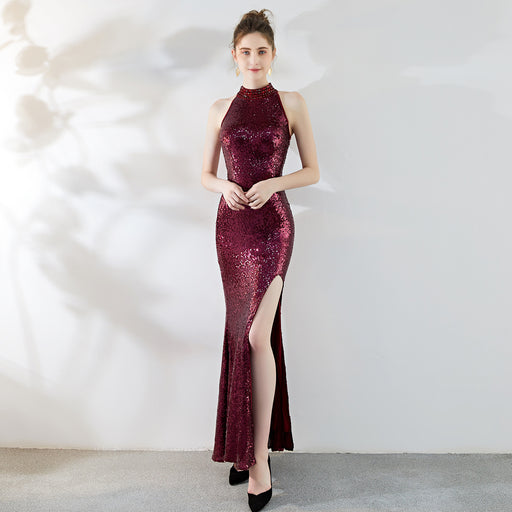 Night Club  Sparkle High spli Hanging neck Red wine Dress