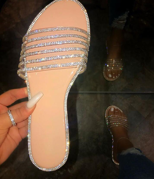 Sparkly diamond-encrusted women's flat sandals