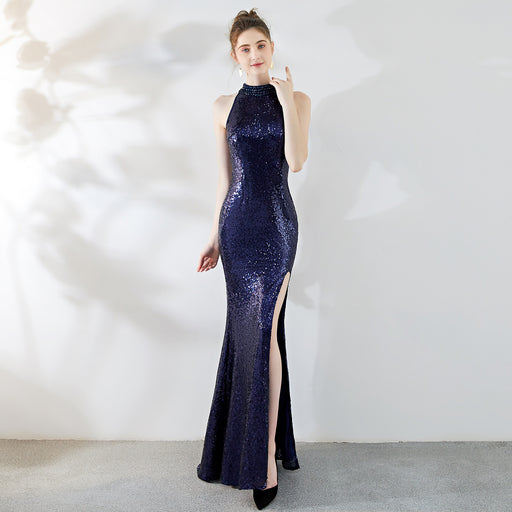 Party High split long halter Sequins fishtail evening dress