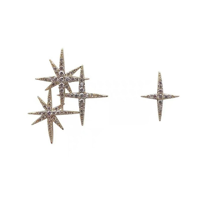 Asymmetrical sparkling star earrings 925 silver needle earrings