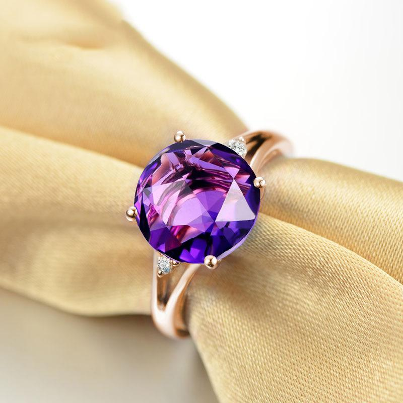 High-end amethyst plated 18K rose gold women's birthday ring