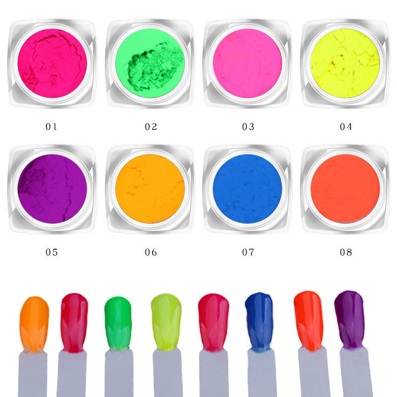 Sparkly 8 - color fluorescent nail polish powder Makeup Decorations