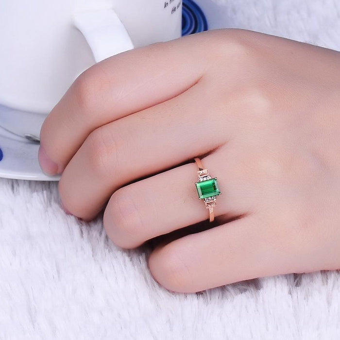Elegant rectangular emerald women's birthday ring