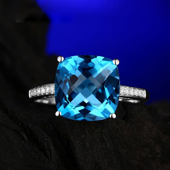Temperament square aquamarine women's birthday ring