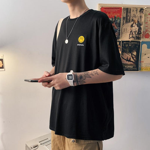 Japanese fashion reflective hip-hop smiley T-shirt