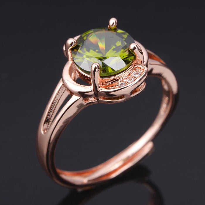 18K rose gold plated peridot women's birthday ring