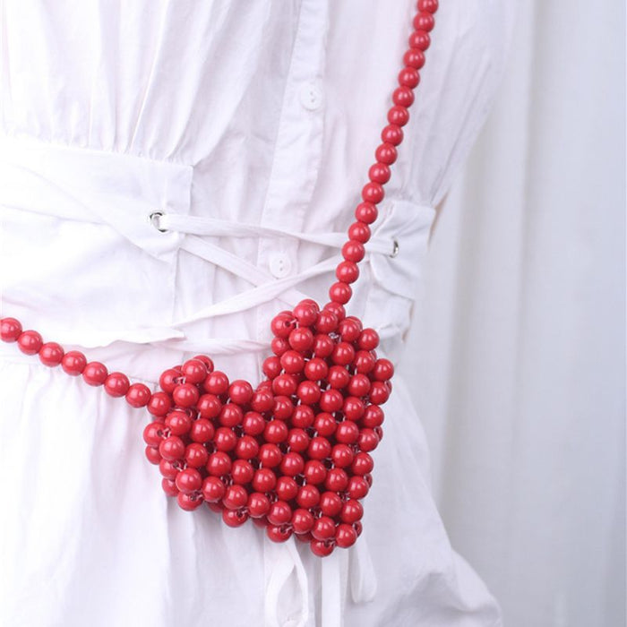 Red love beaded diagonal woven wild bag