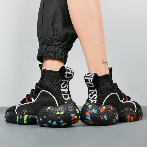 Japanese Trendy Camouflage Thick Bottom Casual High-top Shoes Sneakers