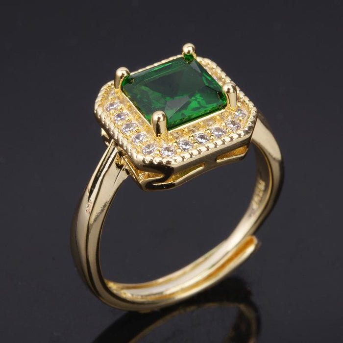 Noble Inlay zircon emerald square women's birthday ring