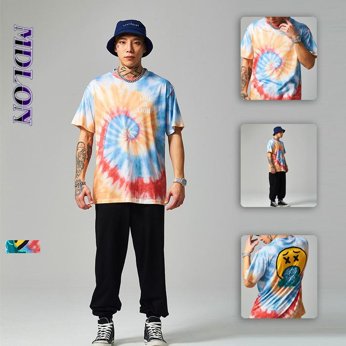 Japanese Street Fun Expression Spiral Tie-dye Loose Men's T-shirts