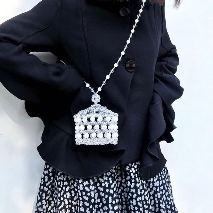 Glitter Sparkly Sequins Bling Ice crack crystal crown small box beaded bag