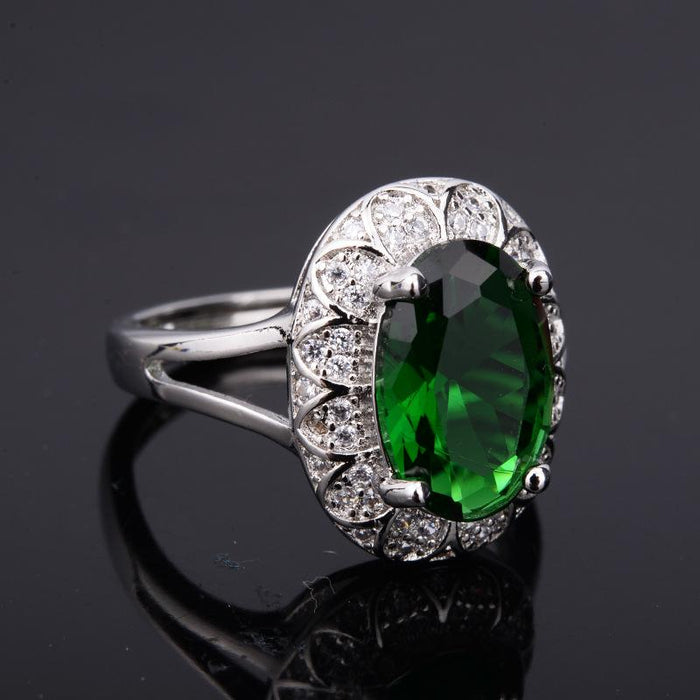 High-end temperament oval Inlay zircon emerald women's ring