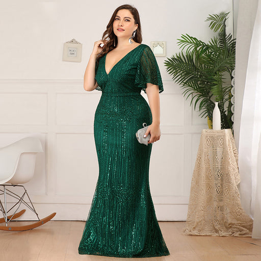 Deep v-neck Lotus leaf sleeve Fishtail Hips Sexy Plus Size Party evening dress