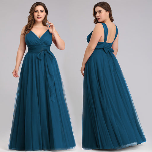 Large size deep V-neck party peacock blue dress