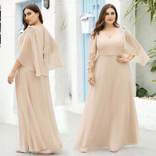 Party plus size V-neck applique floating sleeves long high waist dress