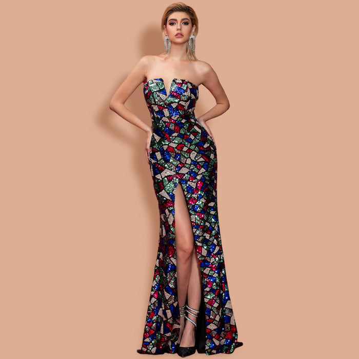 Tube top Irregular Split Sequins Banquet Colorful  Dress