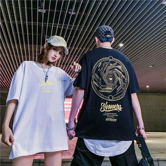 China Fashion Brand Hip Hop Loose Gold Letter Couple Short Sleeve