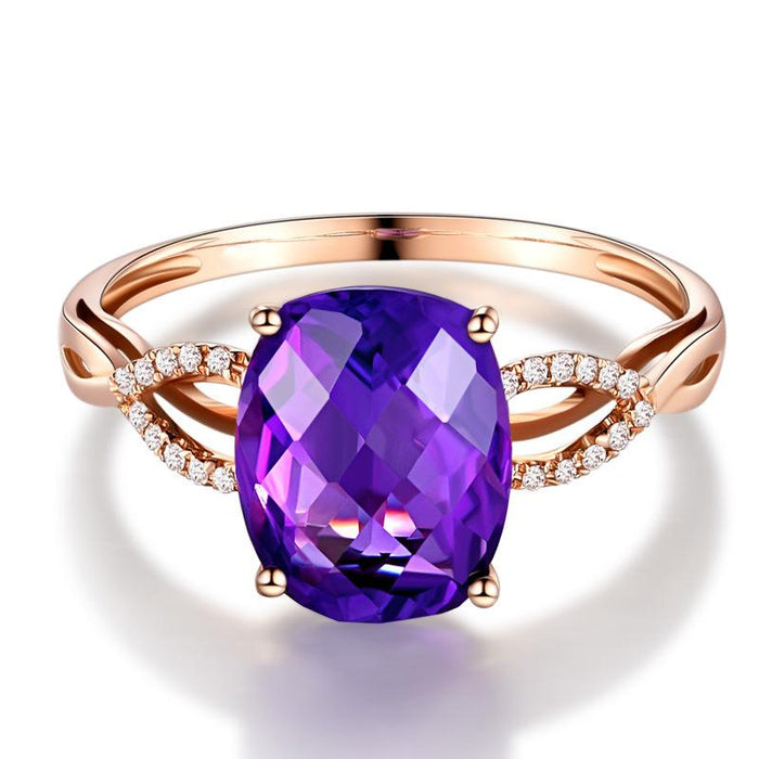 Elegant oval amethyst ring plated with 18-karat rose gold