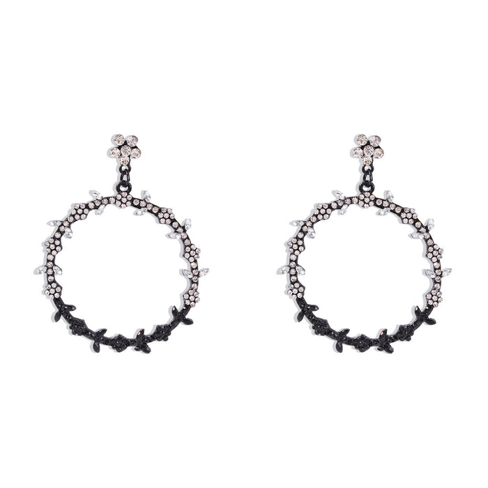 Bohemian temperament large circle earrings with diamond-colored leaves
