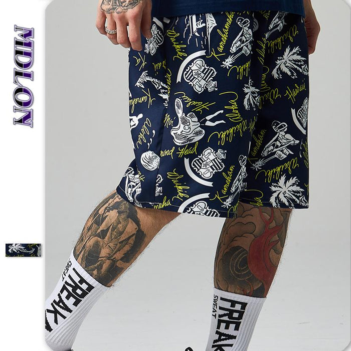 Japanese Street Print Hip-hop Men's Shorts