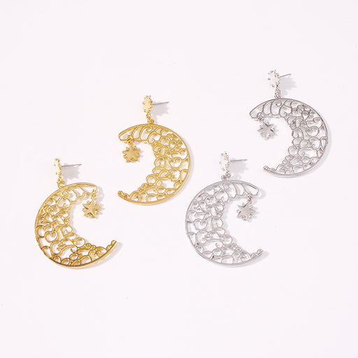 Personality retro hollow star moon earrings