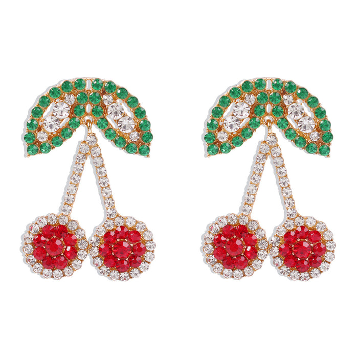 Cute fruit earrings with diamond earrings