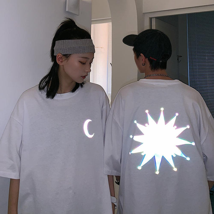 Japanese fashion reflective hip-hop moon T-shirt