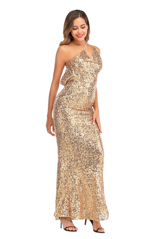 Apricot Night Club GlitterV-neck sexy dress