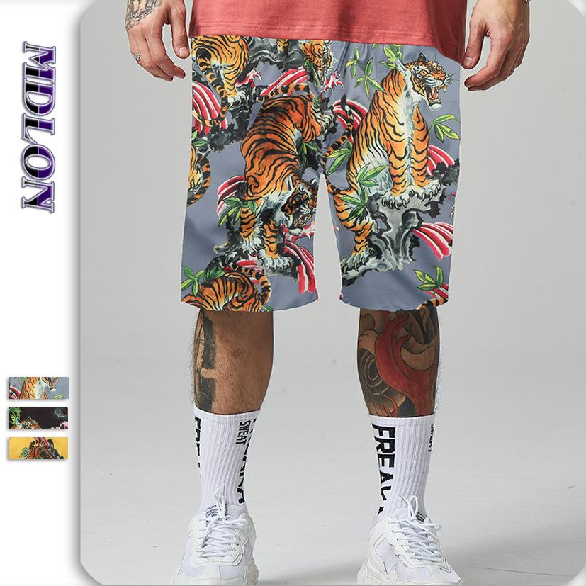 Japanese Street Tiger Print Men's Beach Shorts