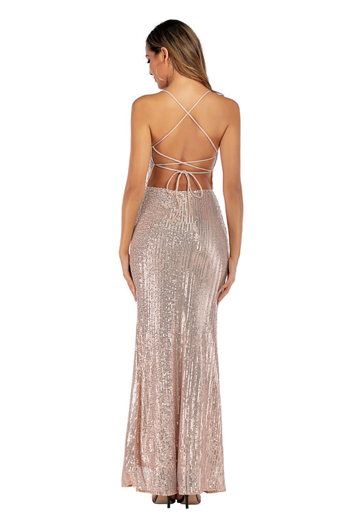 Apricot sexy halter dress strap Glitter split dress