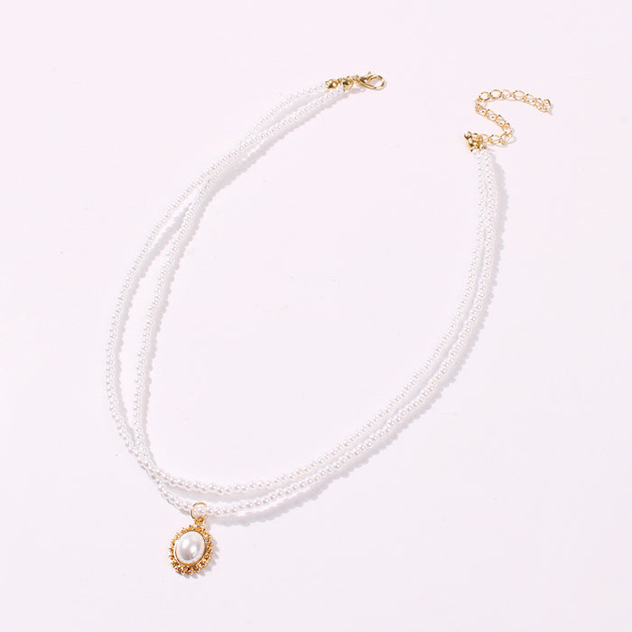 Wild Double Pearl Necklace Clavicle Chain