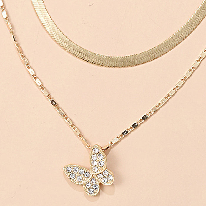 Personalized double-layer butterfly pendant clavicle chain