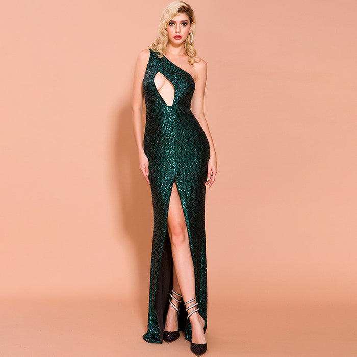 Night Club One Shoulder Sequin Sleeveless High Split Long Skirt