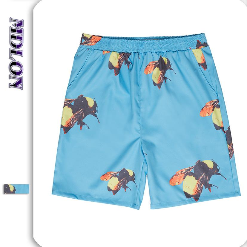 Japanese Street Bee Print Oversize Men's Beach Shorts