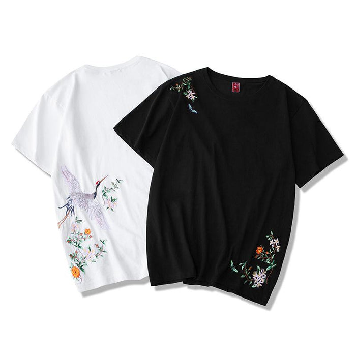 Japanese  Anime  Gender Man  Crane embroidered short sleeve