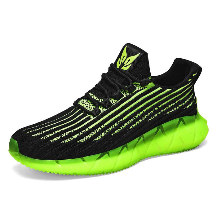 Japanese trendy men's colorful luminous stripes flying woven breathable sneakers