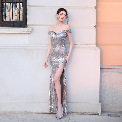 Shiny fishtail party Silver grey dress